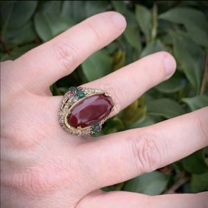 RUBY EMERALD ART RING Size 8 Solid 925 Silver/Gold
